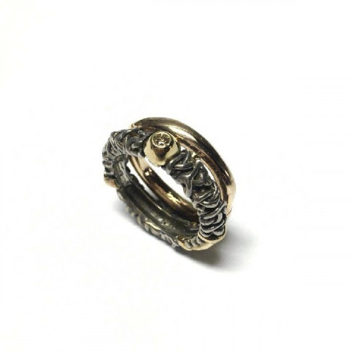 SILVER AND GOLD MISANI RING - A744