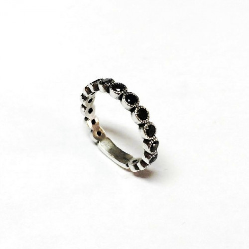ANILLO TOP SILVER NEGRO - AN5347P