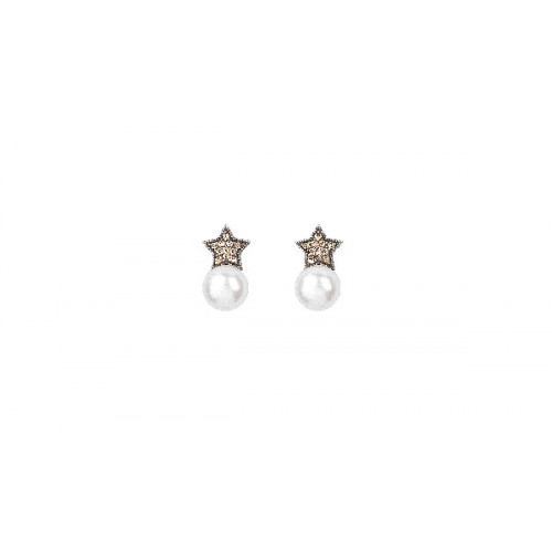 SILVER AND PEARL STAR SUNFIELD EARRINGS - PE060649