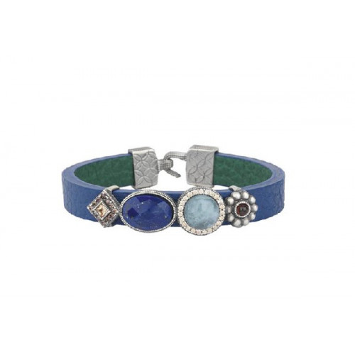 BLUE LEATHER SUNFIELD BRACELET - PU061247