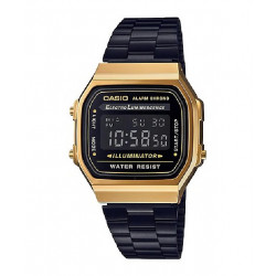 RELOJ CASIO RETRO DIGITAL NEGRO GOLD - A168WEGB-1BEF
