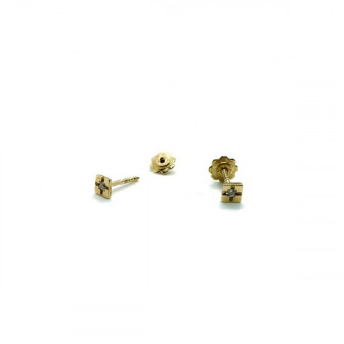 SQUARE CLIMENT 1890 BABY EARRINGS - D-1348R/BR