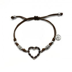 BROWN HEART TOP SILVER BRACELET - PU06349PMA