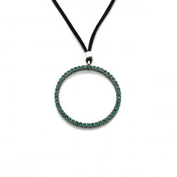 GREEN RING TOP SILVER PENDANT - CL5946PV