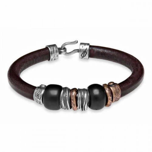 LEATHER, SILVER, BRONZE AND RESIN BRACELET - MB2A T/20