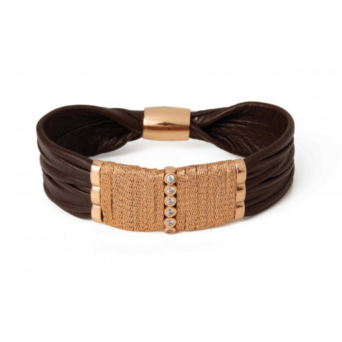 BROWN LEATHER BRACELET - BRB177-3