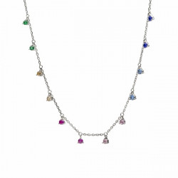 COLORFUL LINEARGENT NECKLACE - 18169-W-PE